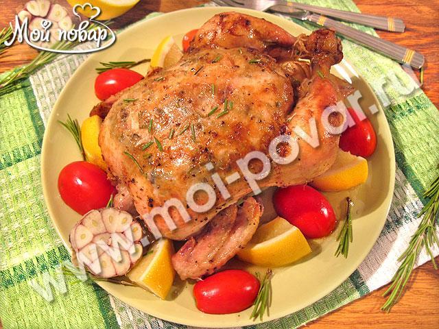 Курица в духовке с лимоном и чесноком