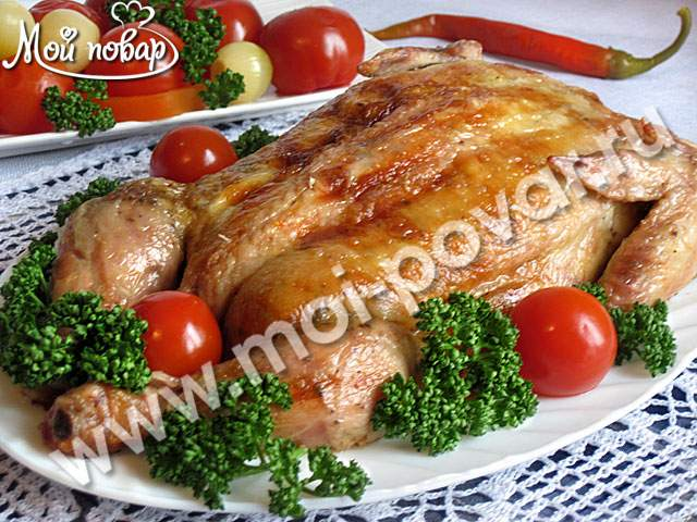 Курица, фаршированная блинами