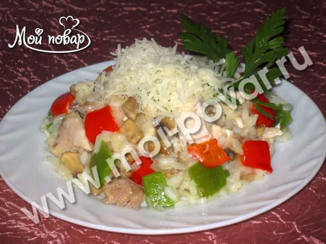 Ризотто с болгарским перцем, курицей и грибами
