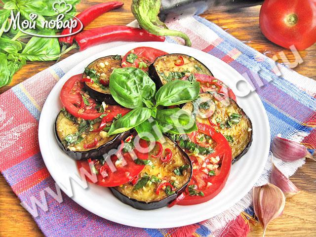 Баклажаны с помидорами в медово-соевом маринаде