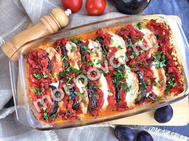 Запеканка из баклажанов с котлетами и сыром в томатном соусе