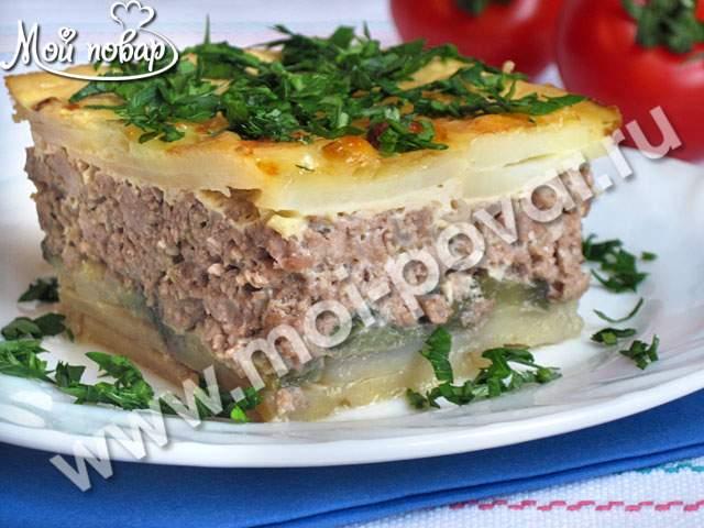 Запеканка мясная с картофелем и баклажанами